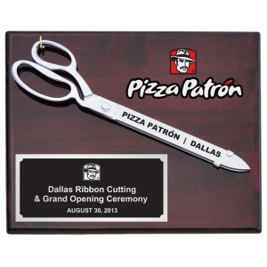 "15"" Ceremonial Chrome Plated Scissors Piano Finish Plaque"