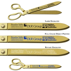 """15"""" Ceremonial Gold Plated Ribbon Cutting Scissors"""