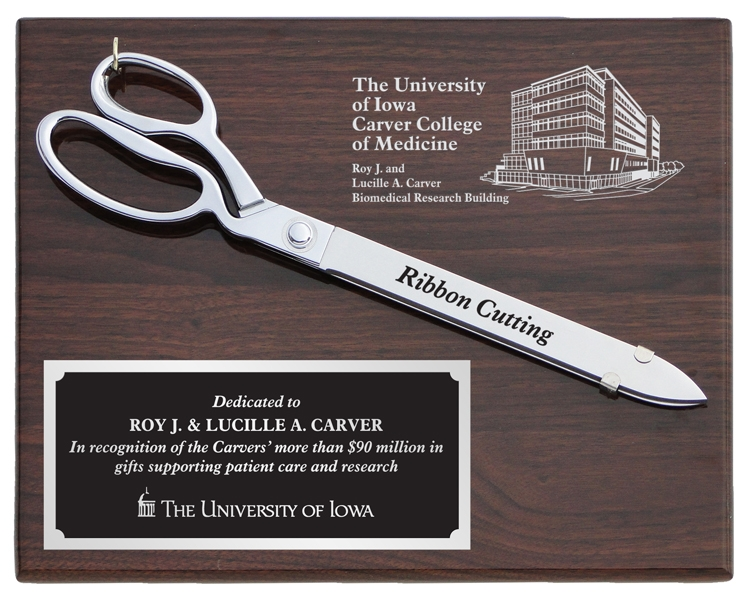 """15"""" Chrome Plated Scissors Plaque - Walnut"""