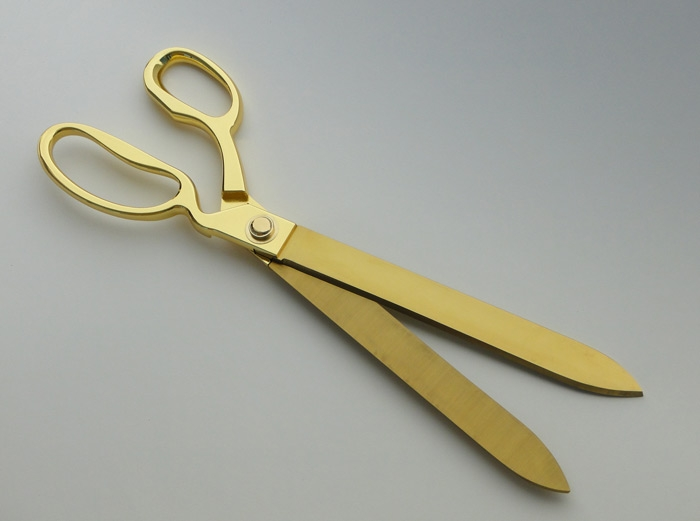 "15"" Gold Plated Ceremonial Scissors"