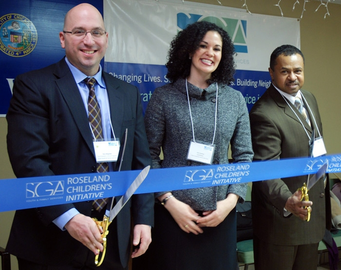 "Ribbon Cutting with Blue Ribbon and 20"" Scissors"