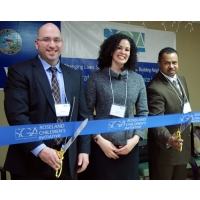 """Ribbon Cutting with Blue Ribbon and 20"""" Scissors"""