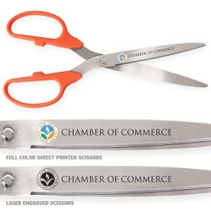 "25"" Ceremonial Ribbon Cutting Scissors - Orange Handles with Silver Blades"