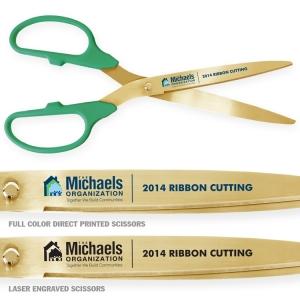 "25"" Green Gold Ceremonial Scissors"