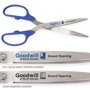 "36"" Blue Ceremonial Ribbon Cutting Scissors Silver Blades"