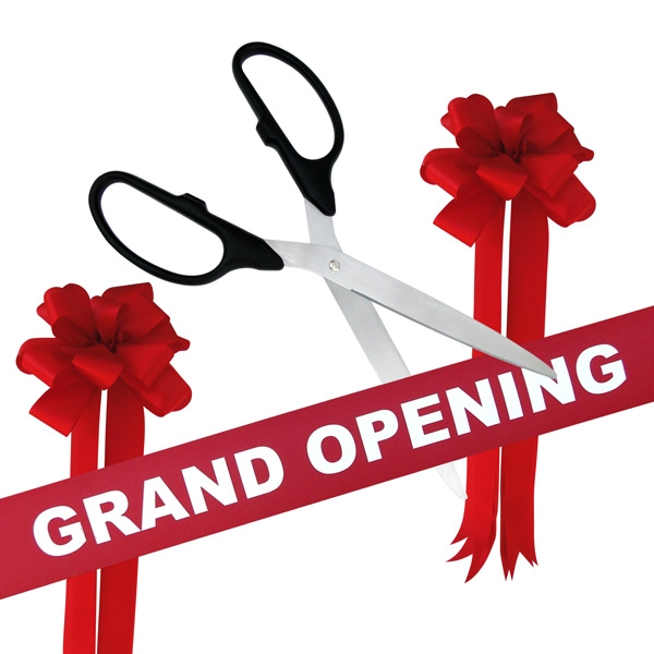 """36"""" Red Ceremonial Ribbon Cutting Scissors Silver Blades"""
