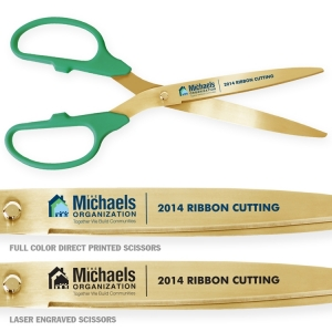 "36"" Green Gold Ceremonial Ribbon Cutting Scissors"