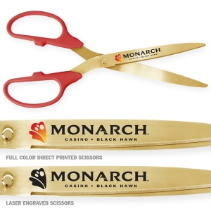 "36"" Red Gold Ceremonial Ribbon Cutting Scissors"
