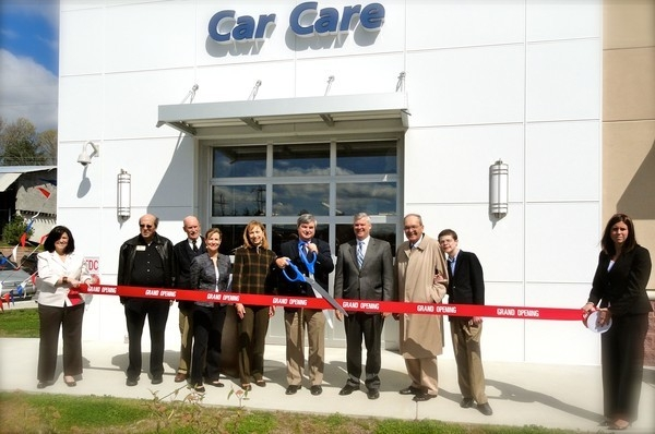 """A Ribbon Cutting Ceremony with 36"""" Blue Handled Scissors!"""