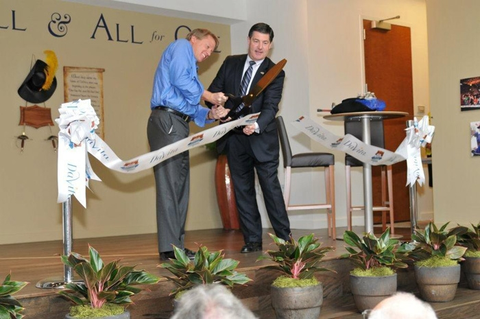 "Ribbon Cutting with 36"" Gold Scissors and Custom Ribbon"