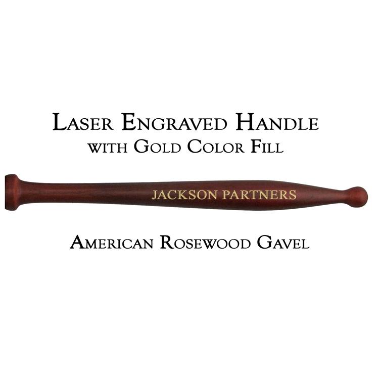 American Rosewood Gavel Handle, Laser Engraved