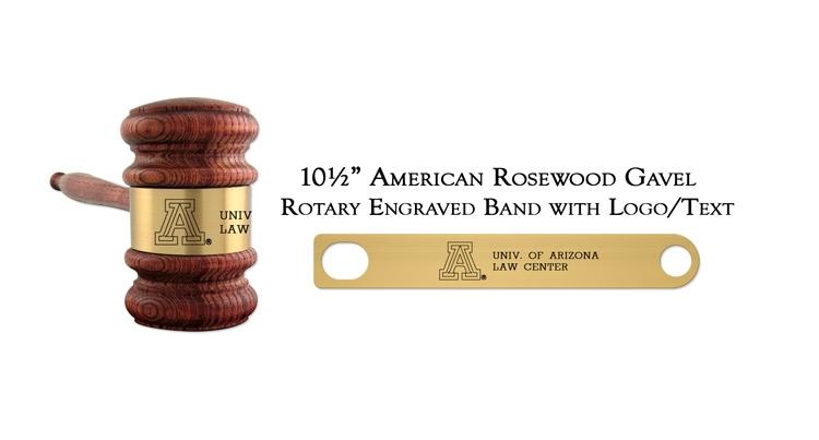 "10 1/2"" American Rosewood Gavel, Rotary Engraving"