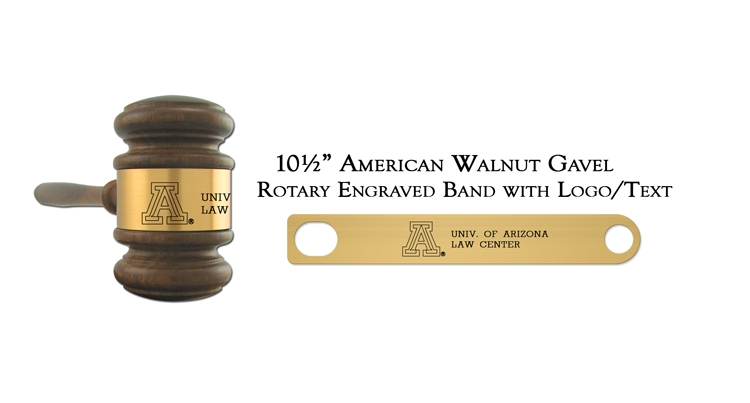 "10 1/2"" American Walnut Gavel, Rotary Engraving"