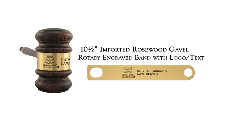 "10 1/2"" Imported Rosewood Gavel, Rotary Engraving"