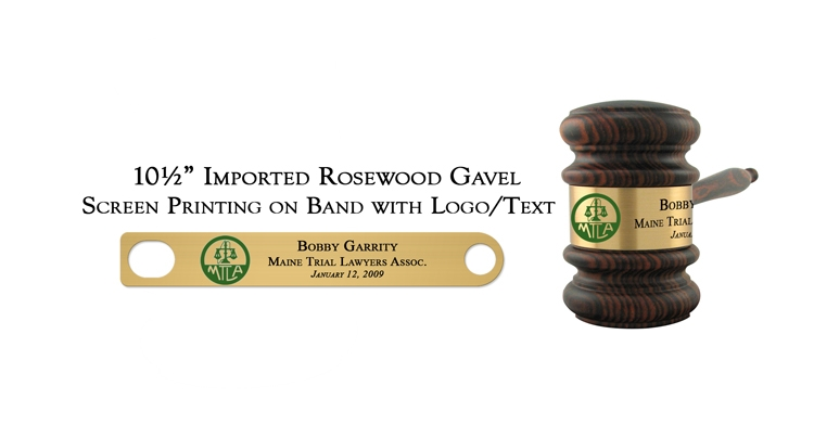 """10 1/2"""" Imported Rosewood Gavel, Screen Printing"""