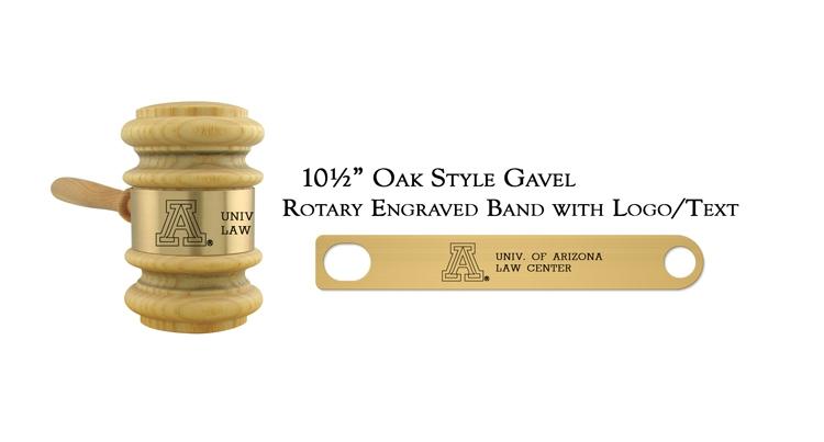 "10 1/2"" Oak Style Gavel, Rotary Engraving"