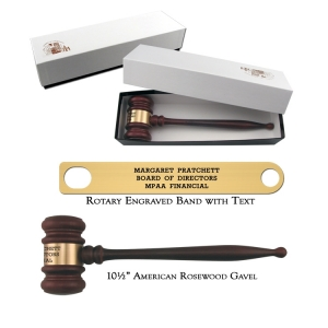 """10.5"""" American Rosewood Gavel and Gift Box"""