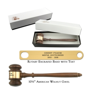 "10.5"" American Walnut Gavel with Gift Box"