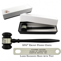 Engraved Ebony Finish Gavel with Gift Box