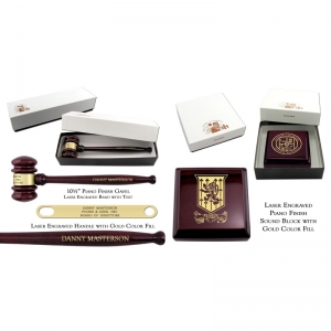 Engraved Piano Finish Rosewood Gavel & Sound Block Sets with Gift Boxes