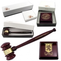 "Piano Finish 10 1/2"" Gavel with Sound Block & Gift Boxes"