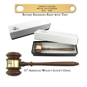 "11"" American Walnut Gavel with Gift Box"