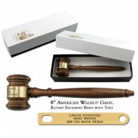 "8"" American Walnut Gavel with Gift Box"