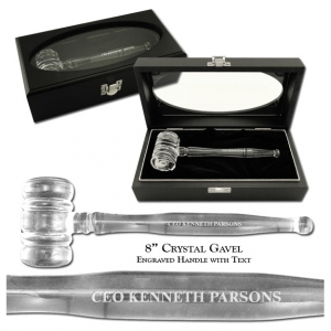 "Crystal Presentation Set, 8"" Crystal Gavel, with Ebony Case"