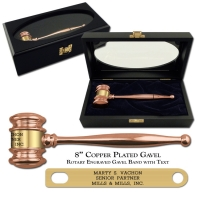 "Copper Plated 8"" Executive Gavel"