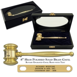 "High Polished Solid Brass 8"" Executive Gavel"