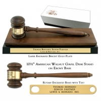 "10-1/2"" American Walnut Gavel Desk Stand on Ebony Base"