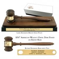 "10-1/2"" American Walnut Gavel Desk Stand on Ebony Base"