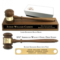 "10-1/2"" American Walnut Gavel, American Walnut Desk Stand"