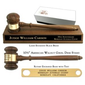 "10-1/2"" American Walnut Gavel, American Walnut Desk Stand"
