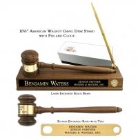 "10 1/2"" American Walnut Gavel, American Walnut Desk Stand Pen & Clock (Battery Included)"