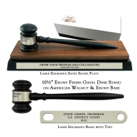 "10-1/2"" Ebony Finish Gavel, American Walnut & Ebony Desk Stand"