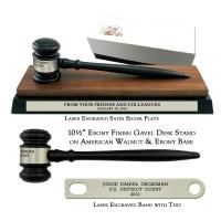 "10-1/2"" Ebony Finish Gavel, American Walnut & Ebony Desk Stand"