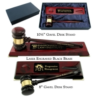 Engraved Piano Finish Gavel Desk Stand Presentation Sets