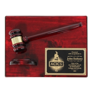 "12"" X 9"" Piano Finish Gavel Plaque with Split Sound Block"