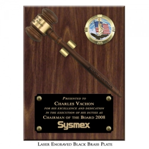 """Engraved Removable 10 1/2"""" Walnut Finish Gavel Clip Plaque"""