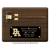 "Engraved Removable 10 1/2"" Genuine Walnut Gavel Clip Plaque"