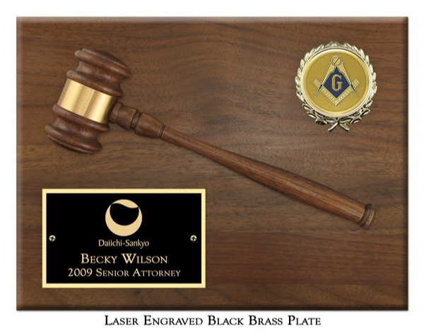 """Engraved 10-1/2"""" Gavel Plaque"""