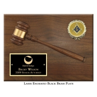 "Engraved 10-1/2"" Gavel Plaque"