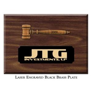 "Engraved 3 1/2"" Miniature Gavel Plaque"