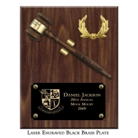 "Engraved Removable 8"" Walnut Finish Gavel Clip Plaque"