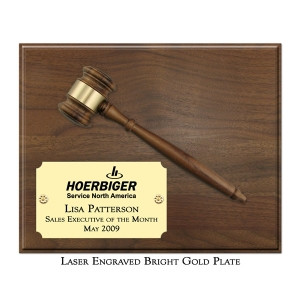 """Engraved 8"""" Gavel Plaque"""