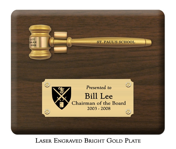 "Engraved Removable 8"" Genuine Walnut Gavel Clip Plaque"