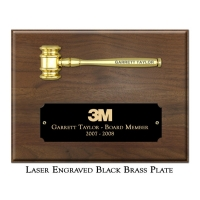 Engraved Miniature Metal Gold Gavel Plaque