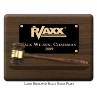 "Engraved Pedestal 10 1/2"" Gavel Plaque"
