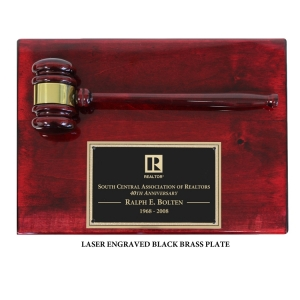 Engraved Piano Finish Gavel Plaque